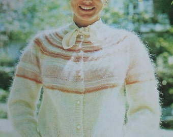 FRENCH Knitting Pattern Cardigan Sweater Women Sizes 38 / 40 Mohair Sport Weight Yarn Vintage Paper Original NOT a PDF