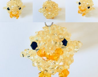 3D Chicken beaded art keychain