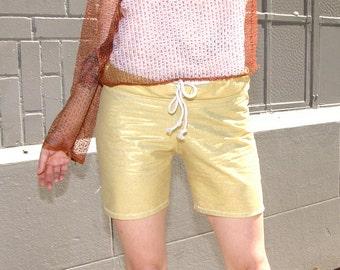 "Womens Clothing Gold Metallic Cotton Shorts w Drawstring - handmade- 6"" inseam- cotton fabric- upcycled clothing- bohemian clothing- hipster"