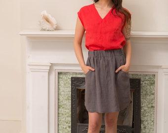 Linen - Skirt, Curved Hem, Pockets, Elastic Waist, Linen Skirt