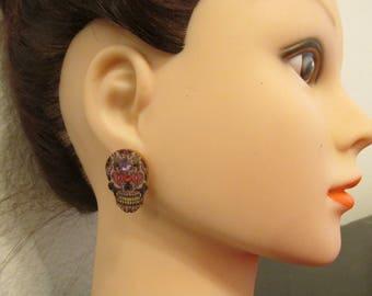 Wooden Sugar Skull Button Stud Earrings