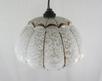 Splatterware lampshade, French vintage lighting, pendant light, ceiling light, speckled glass lampshade, gold detail, Art Deco