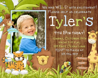 Jungle Birthday Invitation - Safari Invitation Zoo Invitation Boy Birthday Invite - Safari Birthday Printable Invitation