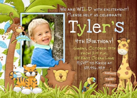 jungle birthday invitations