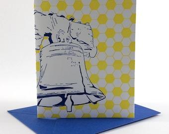 Philadelphia Letterpress Card   Liberty Bell   blue & yellow single blank greeting card with envelope