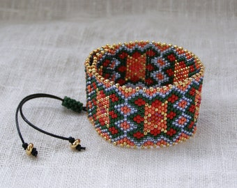 Unisex bracelet for mom seed beads bracelet birthday bracelet for her bracelets for him ukrainian beaded hippie bracelet boho bridal cuff