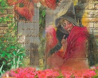 ZNE ATC ACEO - A Bewitching Garden- Digital Collage Art by ruby