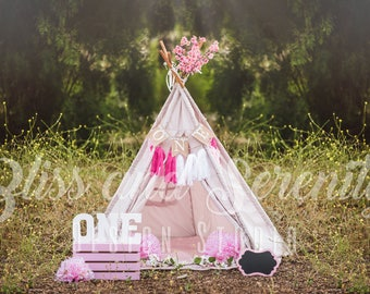 First birthday cake smash, tee pee, pink, floral composite in lush green flowers digital background