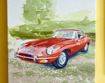 """Jaguar E Type series 2 Canvas Print from original watercolour painting. 20 x 30 cm (approx 8 x 12"""") Vintage Car"""