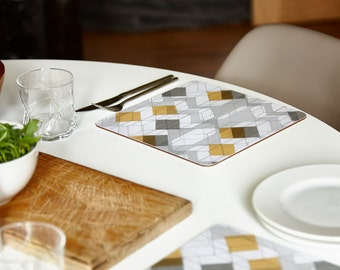 """Square placemats, Mustard and grey placemats, geometric placemats, graphic placemats, set of 4, 24x24cm, 9.5x9.5"""""""