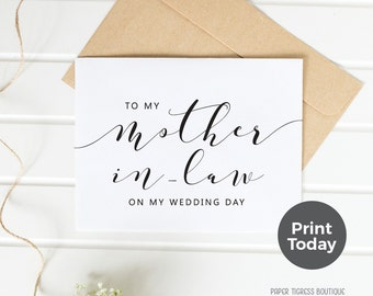 Printable Wedding Card TO my Mother-in-law, On Wedding Day cards, Mother-in-law of bride card, Wedding cards, Mother-in-law Thank you card