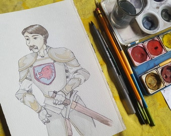 Knight - Original Art Watercolor Sketch of Comic Illustration