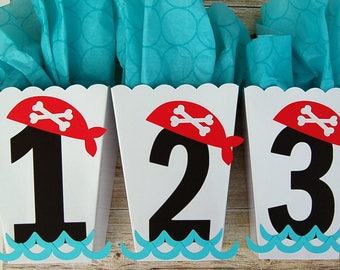 pirate party 12 white popcorn shape favor treat boxes pirate birthday favor  birthday number box custom