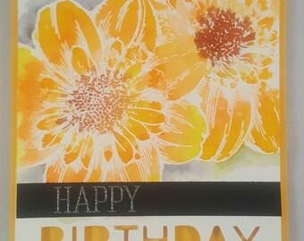 Handmade Birthday Card. Handmade,stamped watercolored  birthday greetings card. watercolored greeting card . free shipping