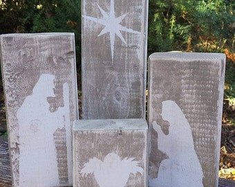 Hand Painted Four Block Nativity - White/Coco