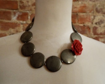 Chunky Pyrite Statement Necklace w/Red Coral Rose Pendant