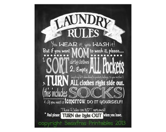 Laundry Sign - Chalkboard style - Laundry Rules