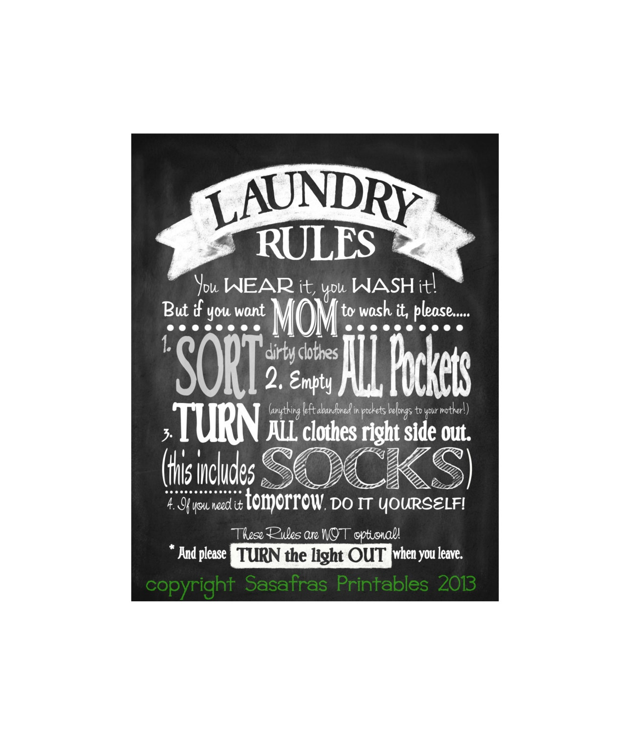 Laundry Sign Chalkboard Style Rules