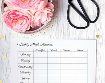 Weekly Meal Planner, Downloadable Meal Planner, Weekly Menu Planner, Meal Planner Weekly, Printable Menu Planner, Black And White Art