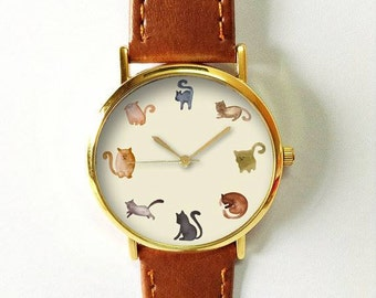 Cats Watch, Watches for Men Women, Leather  Ladies Jewelry Accessories Gifts Spring Fashion Personalized Unique Cat All the Time Pet Lovers