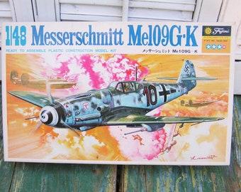 Vintage Fujimi 1:48 Messerschmitt Me109G-K Plastic Aircraft Model Kit Made in Japan
