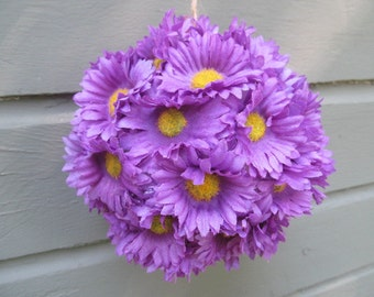 Purple Daisy Hanging Flower Ball
