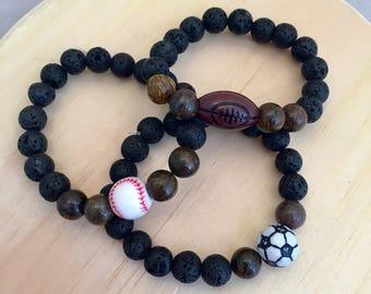 Kid's Diffuser Bracelets, Child Diffuser Bracelet, Kid's Essential Oil Diffuser Bracelet, Soccer Bracelet, Football Bracelet, Boys Diffuser