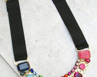 Rainbow Necklace, Multicolor Necklace, Crystal Necklace, Statement Necklace, Colorful Necklace, Gift For Women, Unique Necklace