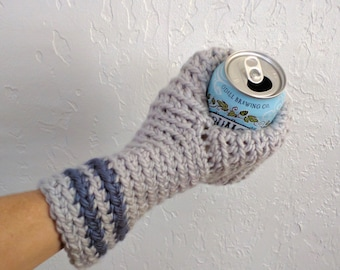 Beer Mitten / Drinking Gift / Beer Glove / Beer Gift / Tailgating / Ice Fishing / Gray and Blue / School Colors / Team Colors