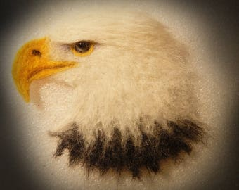 Bald Eagle Brooch large  Needle felted eagle head  Eagle totem