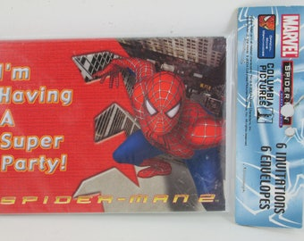 Invitations 6 With Envelopes, Spider Man 2, I'm Having A Super Party, Marvel Stationary
