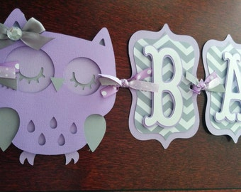 Owl Baby Shower Banner, Itu0027s A Girl Banner, Baby Banner, Baby Shower  Decorations, Purple And Gray Banner, Owl Decorations. Lavender
