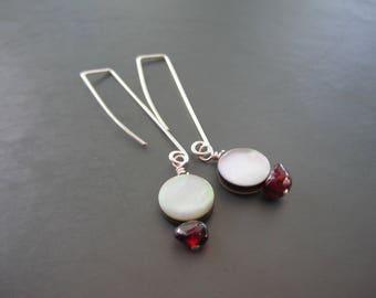 Shell and Garnet Earrings