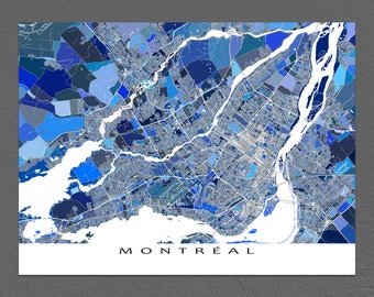 Montreal City Map, Montreal Art Print, Quebec Canada, Cartography