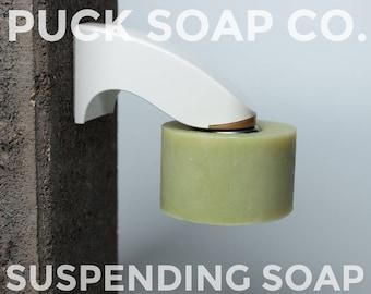PUCK Mental Menthol All Natural Soap, Suspending Soap, Shea Butter, Menthol Cooling Sensation, Men's Soap