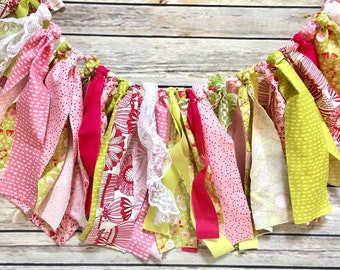 Fabric Banner, Pink and Green Fabric Banner, Shabby Chic Fabric Banner