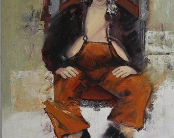 Andrea Dworkin in Orange (Original painting)