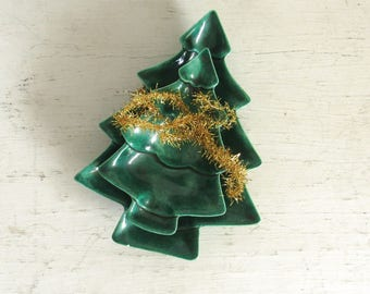 Christmas Tree Trays 80s Vintage Green Ceramic Small Candy or Mint Trays Set of 2