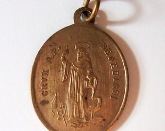 Antike St. Benedikt Französisch religiösen Medaille Charm-Anhänger aus den 1800er Jahren