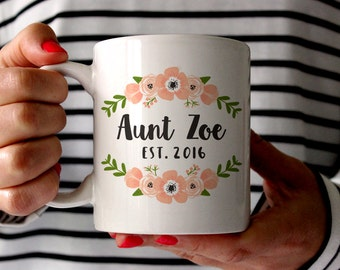 Aunt Gift Pregnancy Reveal to Aunt Pregnancy Announcement to Aunt New Aunt Gift Aunt Mug Gift Sister Personalized Pregnancy Reveal Pink Cute