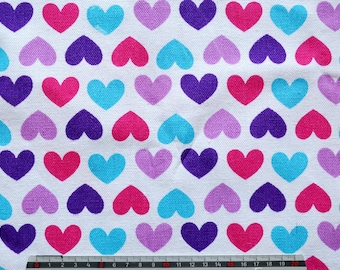 "Vintage black pattern ""Rain of hearts"" summer linen/cotton fabric"