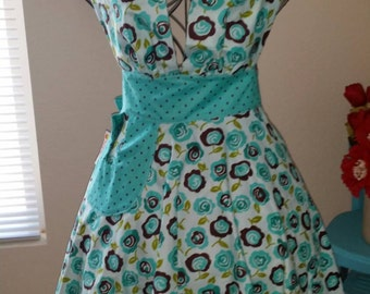 Apron The Marilyn Vintage Inspired Aqua Floral Full Apron,Birthday Gift, Mother's Day Gift