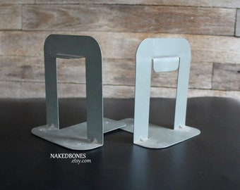 Mid Century Gray Metal Book Ends - Industrial Office File Folder Stands - Modified