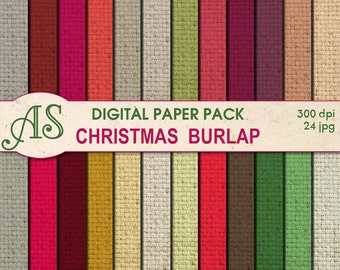 Digital Christmas Color Burlap Paper Pack, 24 printable Digital Scrapbooking papers, Fabric Digital Collage, Instant Download, set 78