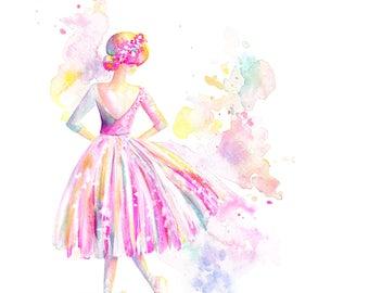 Ballerina lange Tutu - Druck, Ballett, Aquarell, Spritzer Malerei, Mädchen Kunst, Kinderzimmer Kunst, Tutu Kunst