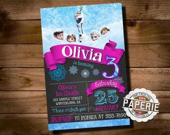 FROZEN PRINTABLE INVITATION, Custom Frozen Invitation, Girls Birthday Party, Frozen Party Decor, Winter Birthday, Pink Frosting Paperie