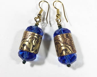 Etched Brass Earrings, Blue Crystal Earrings - Free Domestic Shipping