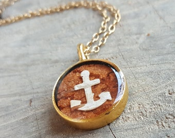 Birch Bark Anchor Necklace - Nautical Jewelry - Real Brown and White Birch Bark Necklace