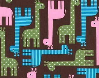"Giraffe Fabric, Zoo Fabric: Urban Zoologie Giraffe's Garden Brown by Robert Kaufman Fabric 100% cotton fabric by the yard 36""x44"" (M131)"