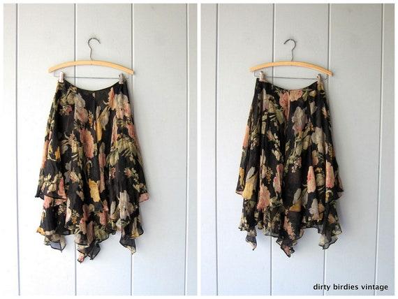Silk Floral Skirt Gorgeous Sheer Layered Midi Skirt Handkerchief Black Yellow Green Ralph Lauren Skirt Womens 2 XS